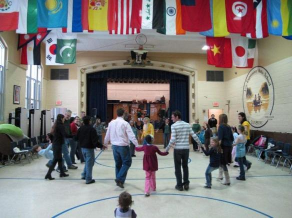 Photo of children's traditional circle dance.