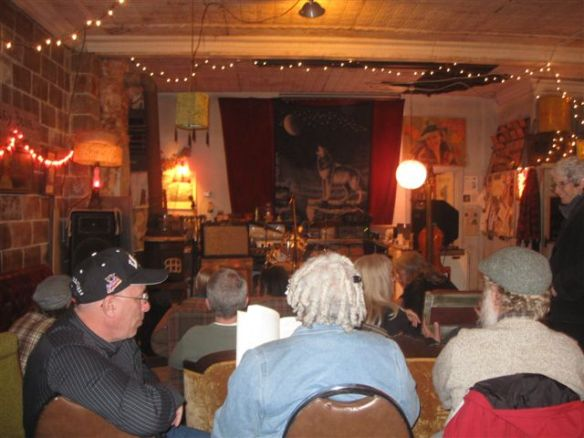 interior of the Lupus, Missouri, General Store set up for a concert
